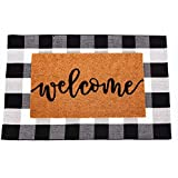 """Welcome Mat for Front Door - Wild Home Inc - Combo Set - Coir Welcome Mat 30"""" x 17.5"""" + Extra Large Buffalo Plaid Rug 43"""" x 2"""