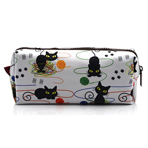 Cat Pencil Case Cats and Yarn Knitting Notion Pouch Kitten Makeup Bag Gift for Cat Lovers Pencil Pouch Small Cosmetics (Notions Bag)