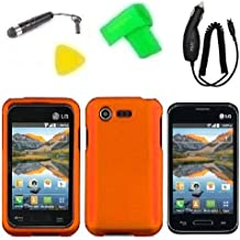 Phone Case Cover Cell Phone Accessory + Car Charger + Extreme Band + Stylus Pen + LCD Screen Protector + Yellow Pry Tool for Straight Talk LG Optimus Fuel L34C / Verizon LG Optimus Zone 2 VS415 Vs415pp (Orange)