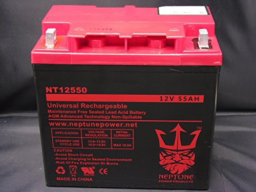 Neptune 12V 55AH Group 22NF GEL Battery for Quickie Z500, V121, S525 Wheelchair -