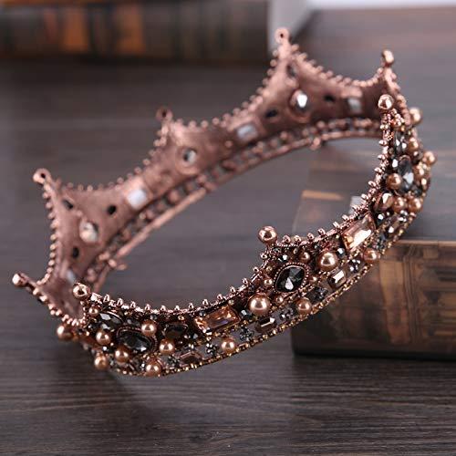 LIShuai Baroque Vintage Black Rhinestone Beads Round Big Crown Wedding Hair Accessories Luxury Crystal Queen King Crowns Bridal ()