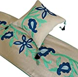 California King Size Bed Dimensions in Feet The HomeCentric Beige Bed Runner with Decorative Throw Pillow Cover, CA King 18 x 86 inches King Size Bed Scarf in Natural Linen with Crewel Embroidery - Emerald & Paisley