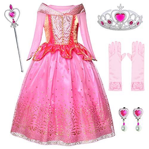 Little Girls Birthday Dress up Princess Aurora Costume With Gloves,Earings,Tiaras & Wand 5-6 Years(120cm)]()