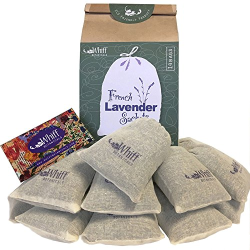 """Dried French Lavender Flower Sachets, 14 Cotton Bags 3""""x4"""""""