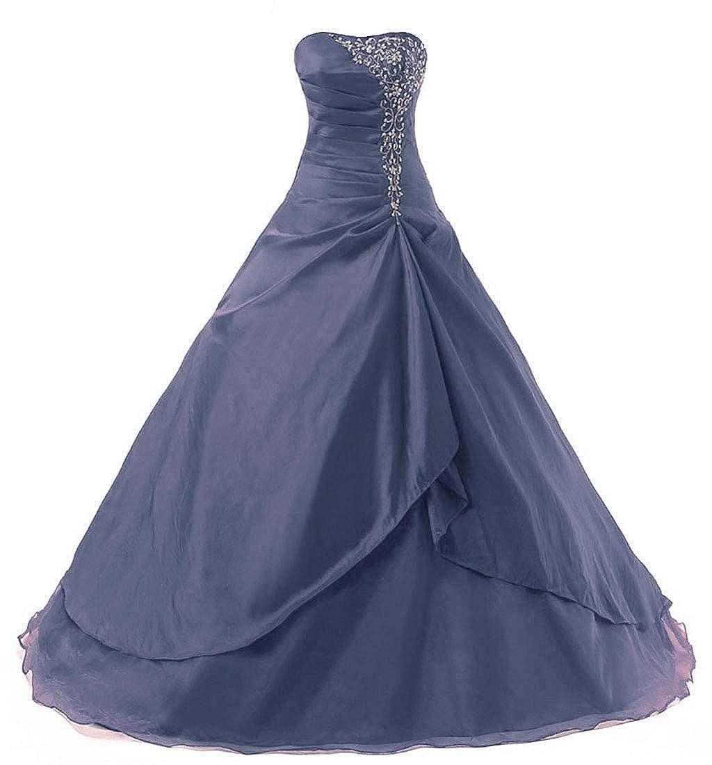 Dark Navy Vantexi Women's Embroidery Taffeta Formal Prom Dress Quinceanera Gowns