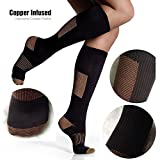 e4ecadcdc57931 3PK Copper Compression Knee High Recovery Support Socks- Best Copper  Infused Fit Sock For Men and Women Running, Calf, Diabetic, Swelling, Shin  Splints.