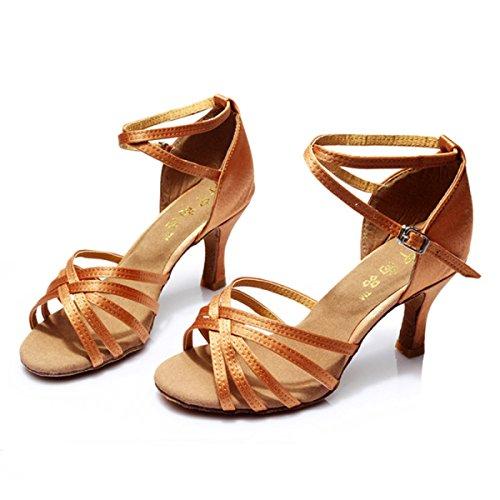 Des Mädchens Der Frauen Professional Latin Schuhe Obermaterial Satin Sandalen Salsa / Ballroom Dance Schuh Med (weitere Farben) Brown