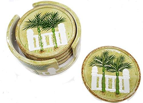 - Palm Tree Design 3 Dimensional Ceramic Coaster Set