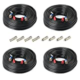 SHD 4Pack 200Feet BNC Vedio Power Cable Pre-Made Al-in-One Camera Video BNC Cable Wire Cord for Surveillance CCTV Security System With Connectors(BNC Female and BNC to RCA)