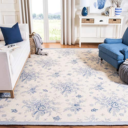 Safavieh Chelsea Collection HK250A Hand-Hooked Ivory and Blue Premium Wool Area Rug (6' x 9')