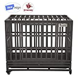 "SMONTER 38"" Heavy Duty Dog Crate Strong Metal Pet Kennel Playpen with Two"