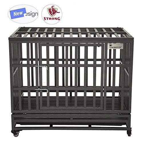 SMONTER 38″ Heavy Duty Dog Crate Strong Metal Pet Kennel Playpen with Two Prevent Escape Lock, Large Dogs Cage with Wheels, Dark Silver Review