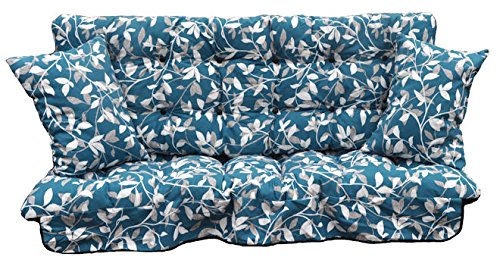 GB Leisure Garden Patio 3 Seater Replacement Swing Hammock Bench Cushion Set Glen Blue Leaf Design