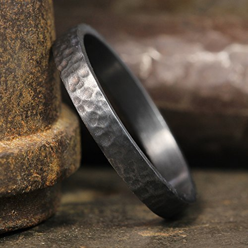 3mm Wedding Band Oxidized Blackened 925 Sterling Silver Hand Forged Hammered Mens Women Unisex Flat Pipe Cut Thick Handmade Black Ring - FREE Engraving