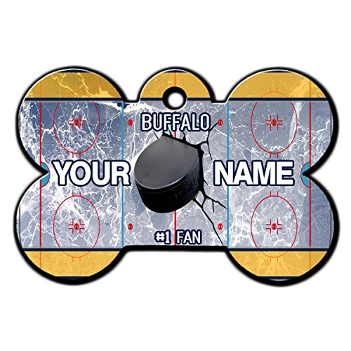 BleuReign(TM) Personalized Custom Name Hockey Team Buffalo License Plate Bone Shaped Metal Pet ID Tag with Contact Information