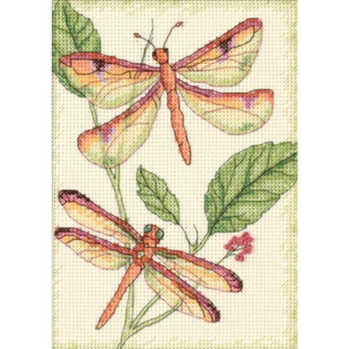 "Brand New Dragonfly Duo Mini Counted Cross Stitch Kit-5""""X7"""