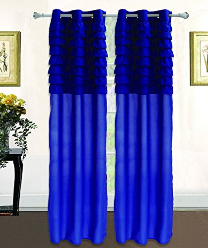 Ace 21 Solid Katy Soft Ruffle Window Curtain Panel With bron