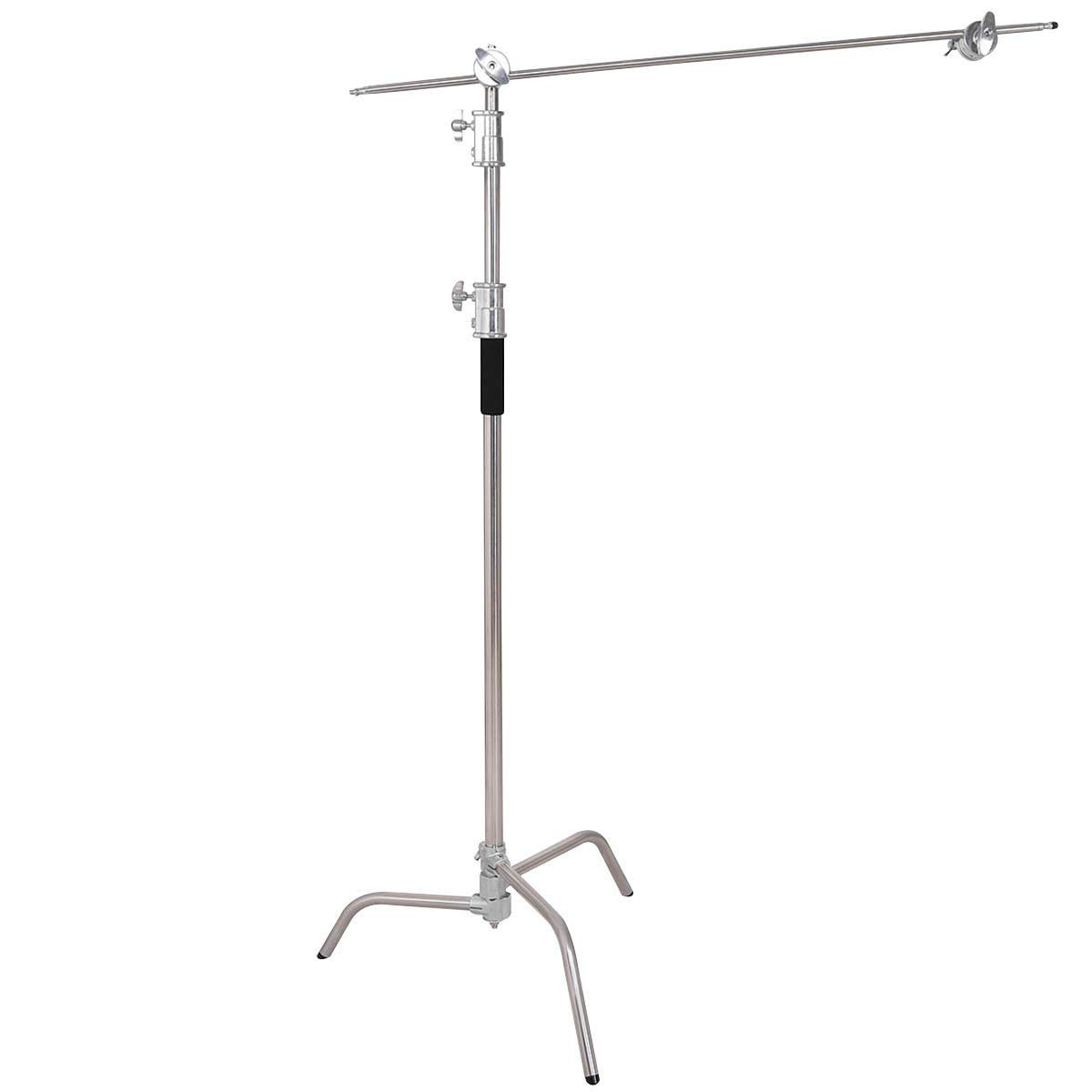 KCHEX>>>40'' Stainless Steel Silver C-stand w Grip Head Folding Legs Photography Studio>Used on its own or in combination with a grip head and grip arm, the C-Stand is used for mounting lighting equipm