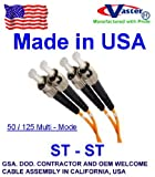 SuperEcable - 500FT ST / ST MULTIMODE DUPLEX OM2 50/125 FIBER OPTIC Cable 500 Ft – Made in USA - TAA COMPLIANT