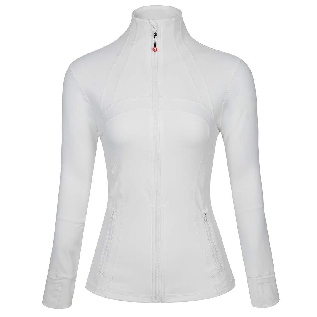 qualidyne Yoga Jacket Run Jacket Women Lightweight Comfy Athletic Workout Zip Running Track Jacket White by qualidyne