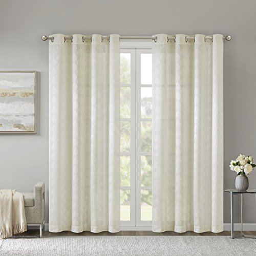 (Madison Park Nadal Leaf Embroidered Window Sheer Curtain Voile Panel for Bedroom Living Room and Dorm, 50