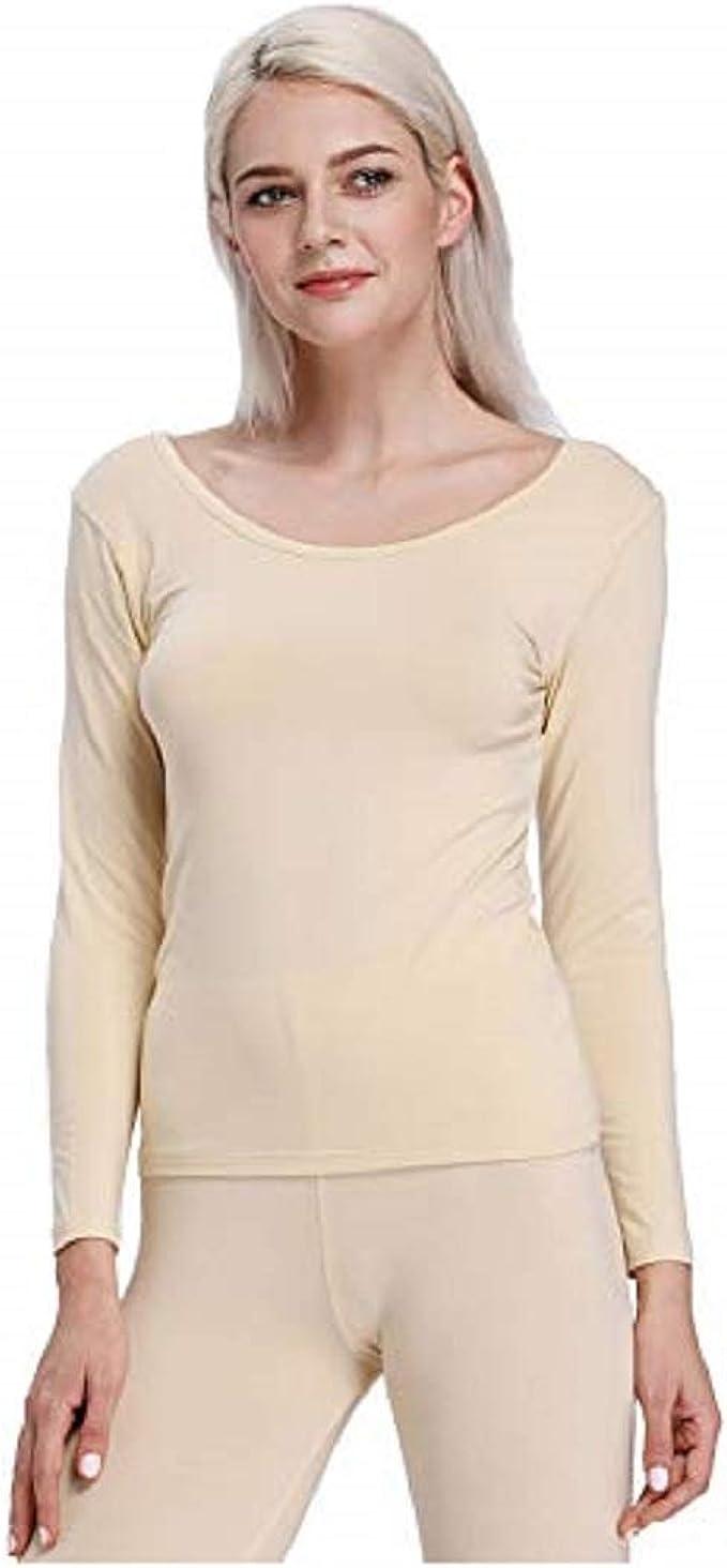 Liang Rou Camisa Interior térmica de Cuello Redondeado para Mujer: Amazon.es: Ropa y accesorios
