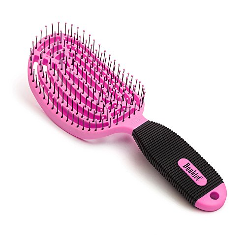 NuWay 4Hair! U.S. Patented Professional Detangling! DoubleC is Double Curved - BrainyBristles Argan Oil Tips Detangle Curly Wet or Dry Hair - No Pulling - Vented Back - Built-in Anti-Bacterial