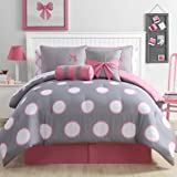 Girl 8-Piece Full Size Comforter Set in Pink/Grey, Kid Teen Bed in a Bag oversized polka dots and ribbon accents