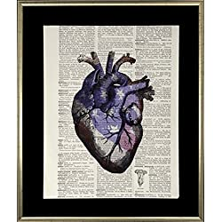 Handmade USA Flag Anatomical Heart Wall Art Dictionary Print Vintage On Black Mat 8x10 Upcycled