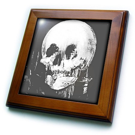 3dRose ft_46711_1 All Is Vanity-ghost, Halloween, optical illusion, paranormal, seasonal, silhouette, skeleton-Framed Tile, 8 by 8'' by 3dRose