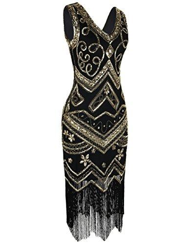 Kleid gold fransen