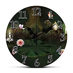 BCWAYGOD Silent Wall Clock,Magical,Mystical Secret Place Deep Dark in Forest with Butterflies and Flowers Zen Image,Green Brown Non Ticking Wall Clock/Desk Clock for Office Home Decor 9.5 inch