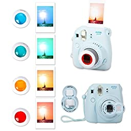 FujiFilm Instax Mini 8 Instant Film Camera Raspberry + Instax Mini Film Twin Pack (20 Sheets) + PU leather Case + Frames + Album + 4 Color Filters + Selfie Mirro And More 9 in1 Top Accessories Bundle
