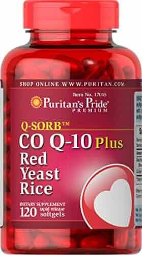 Puritans Pride Q-Sorb Co Q-10 Plus Red Yeast Rice, 120 Count