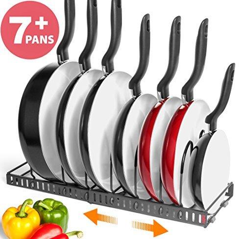 BTH estante organizador ampliable de cocina para sartenes y ollas:Sostiene más de 7sartenes, se puede extender a 56.5cm,...