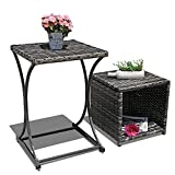 Orange Casual Outdoor Wicker Side Table Multifunction End Storage Table Patio Coffee Table for Garden Poolside Set of 2, Black