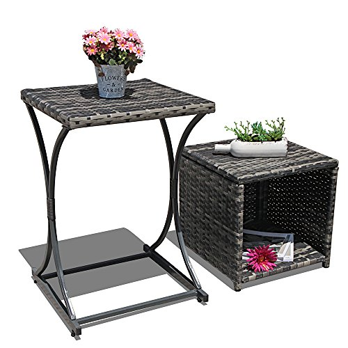 Orange Casual Outdoor Wicker Side Table Multifunction End Storage Table Patio Coffee Table for Garden Poolside Set of 2, Black by OC Orange-Casual
