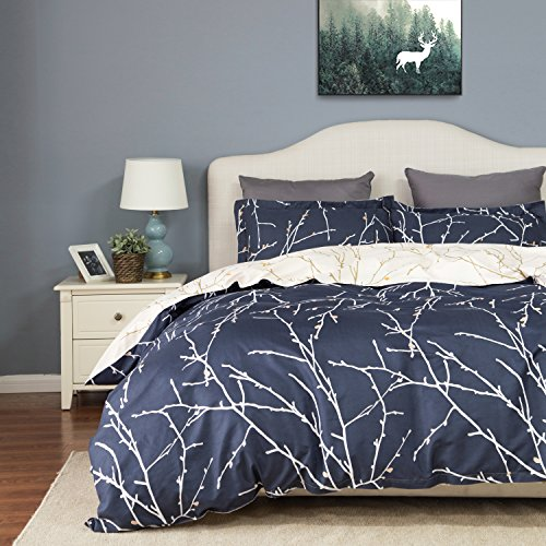 Microfiber Duvet Set (Duvet Cover Set with Zipper Closure-Branch and Plum Blue Printed Pattern,Full/Queen (90