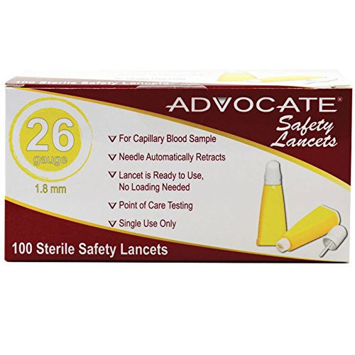 Advocate Safety Lancets 26G x 1.8mm 100/bx 20bx/cs, Case of 20
