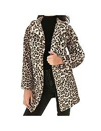 HHmei Women's Sexy Leopard Jacket, Autumn Winter Warm Faux Cardigan Outwear Coat