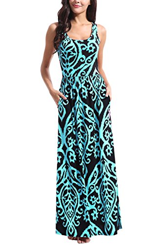 Zattcas Womens Summer Sleeveless Racerback Floral Print Maxi Dress with Pockets,Black Aqua,Small