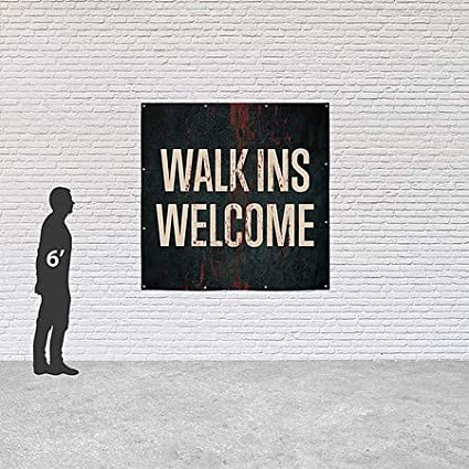 CGSignLab Walk Ins Welcome 8x8 Ghost Aged Rust Heavy-Duty Outdoor Vinyl Banner