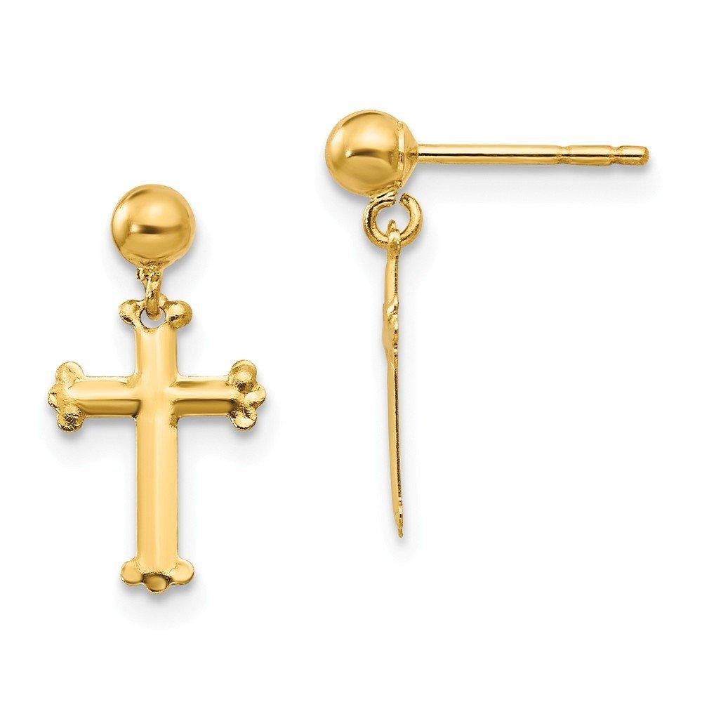 14K Yellow Gold Madi K Dangle Cross Post Earrings
