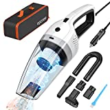 Car Vacuum Cleaner High Power DC 12V 120W Wet/Dry Portable Handheld Auto Vacuum for Car Interior Cleaning-4300PA Strong Suction -16.4 Feet Power Cord with Storage Bag,White