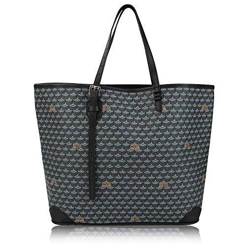 Stylesty Fashion Shopping PU Tote Bag, Designer Shoulder Handbags with Key Ring (Large, NewGrey)