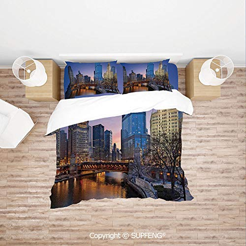 SCOXIXI Bed Cover Set USA Chicago Cityscape with Rivers Bridge and Skyscrapers Cosmopolitan City Image (Comforter Not Included) Soft, Breathable, Hypoallergenic, Fade ()