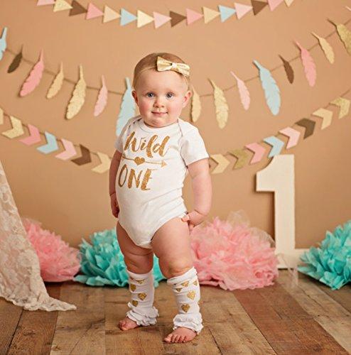 Olive Loves Apple Wild One Gold Glitter Girls 1st Birthday Bodysuit,Gold,6-12 months short sleeve by Olive Loves Apple (Image #1)