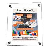 Source One Deluxe Premium Quality Ez-Load Standoff Clear Acrylic Sign Holders (8.5 x 11, Portrait)