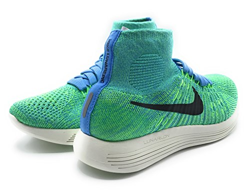 Nike Donne Lunarepic Flyknit High-top Scarpa Blu Tensione Nero Verde