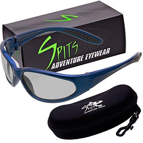 - Hercules Photochromic Light Adjusting Safety Glasses - Blue Frame - Clear/Smoke Lenses